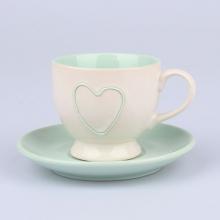 Šálek s talířkem srdce zelené