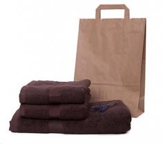 Froté sada dvou ručníků a osušky z biobavlny – čokoláda