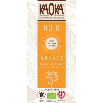 Bio hořká čokoláda s pomerančovou silicí KAOKA 100g